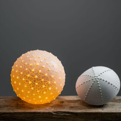 Pair Of Urchin Porcelain Lamps Handcrafted By Amy Cooper Ceramics