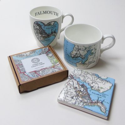 Falmouth Vintage Map Mugs And Coasters By Glorious Mud Ceramics