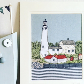 Handcrafted textile picture of lighthouse by Cornish Homemade