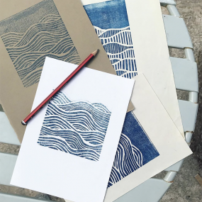 Close ups of Lino Cut Prints by HC Prints