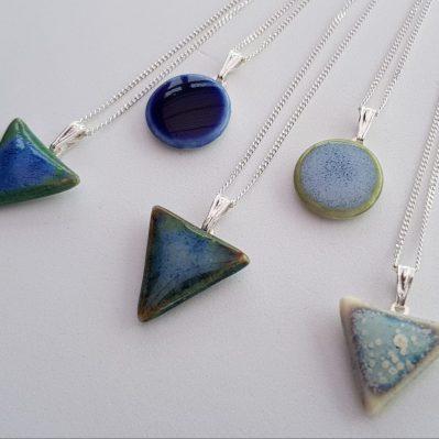 Ceramic triangle and circle pendants by Jess Berriman Ceramics