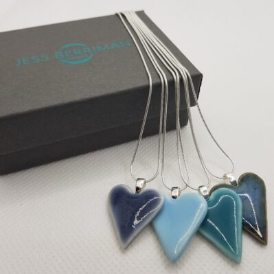 Ceramic Heart Pendants handcrafted by Jess Berriman Ceramics