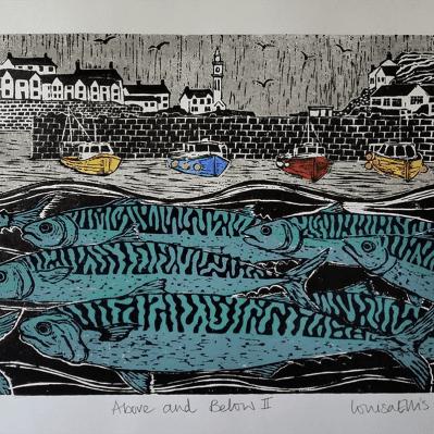 Porthleven Harbour Wood Block Print by Louisa Ellis