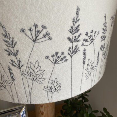 Close up off Hedgerow lampshade handcrafted by Melody Ryder