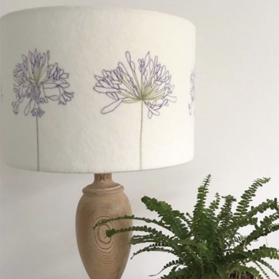 Felt Lampshade with Agapanthus handcrafted by Melody Ryder