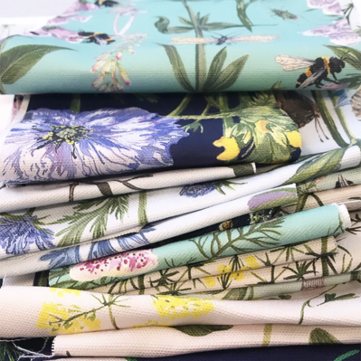 Stack Of Botanical Fabrics Designed By Particle Press