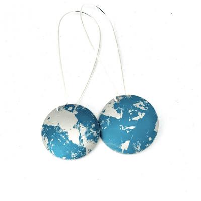 Pair of handprinted drop earrings by Rachel Stowe
