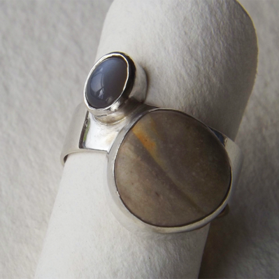 Silver Ring With Grey And Sand Semi Precious Stones By Rebecca Walklett