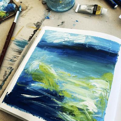 Seascape Painting Work In Progress By Robyn Weldon