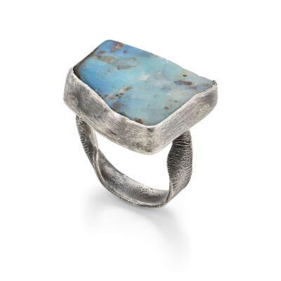 Boulder Opal and Recycled Silver Ring by Sarah Drew