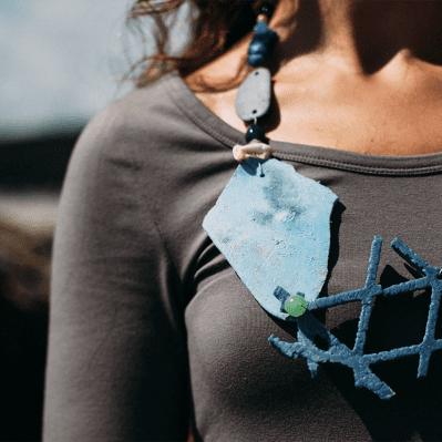 Blue Beach Plastic Statement Necklace By Sarah Drew