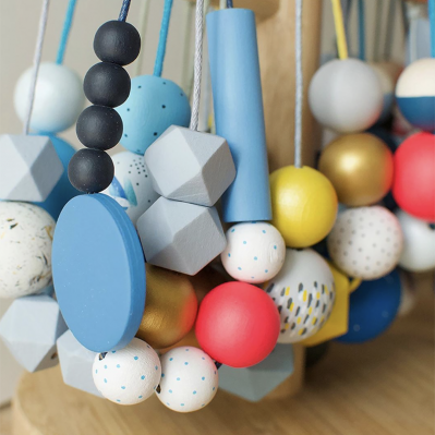 Selection Of Handpainted Wooden Bead Necklaces By Sea Pink Studio