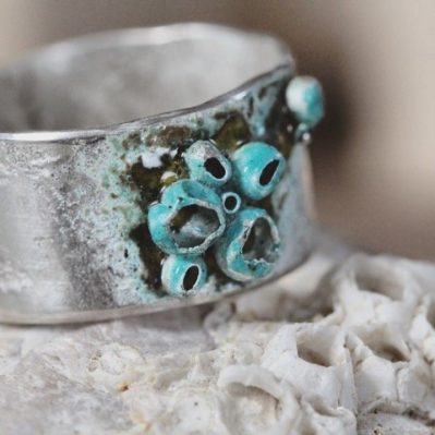 Silver And Enamel Barnacle Ring By Silver Sapling