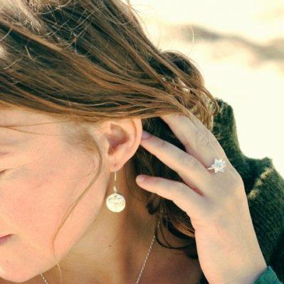 Model Wearing Agapanthus Drop Earrings By Silver Sapling
