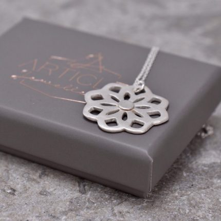 Silver pendant necklace in the shape of mandela by Article Jewellery with box