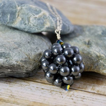 Black beaded ball long length pendant made from Swarovski pearls by Article Jewellery