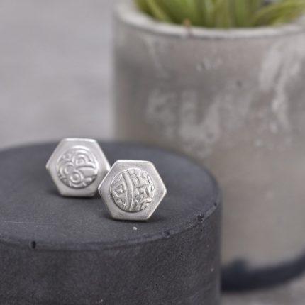Hexagon shape textured silver stud earrings by Article Jewellery