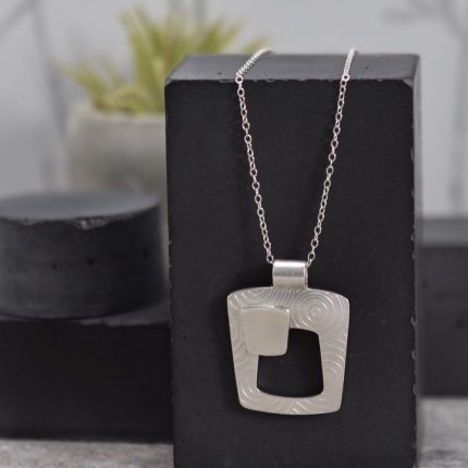 Tapered square textured silver pendant necklace by Article Jewellery