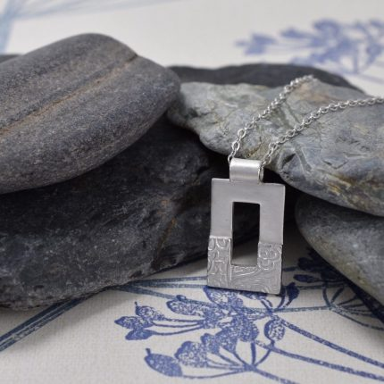 Rectangular textured silver pendant necklace by Article Jewellery