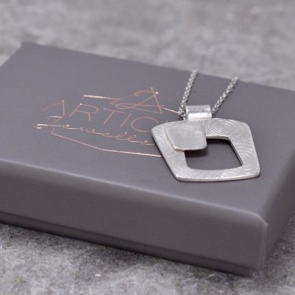 Tapered square textured silver pendant necklace by Article Jewellery with box