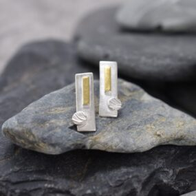Silver Rectangle Stud Earrings with 24ct Gold Detail
