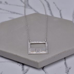 Square Textured Silver Pendant Necklace By Article Jewellery