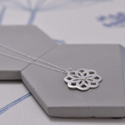 Silver pendant necklace in the shape of mandela by Article Jewellery