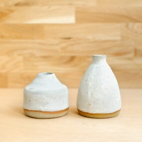 White glazed stoneware bud vases by Potting in Penryn