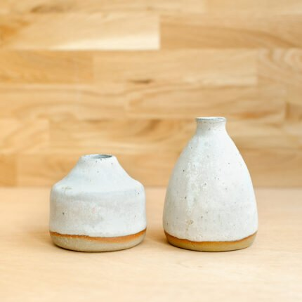 White glazed stoneware bud vases by Potting in Penryn