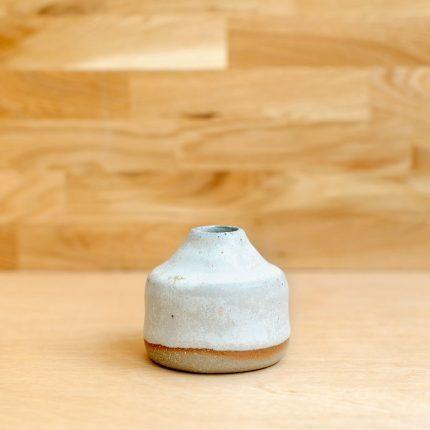 White glazed stoneware square bud vase by Potting in Penryn