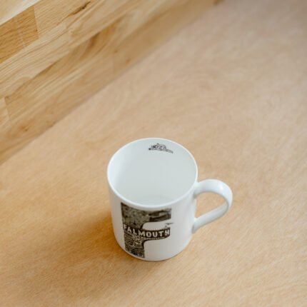 Black and white Falmouth typography mug by Lucy Loves This