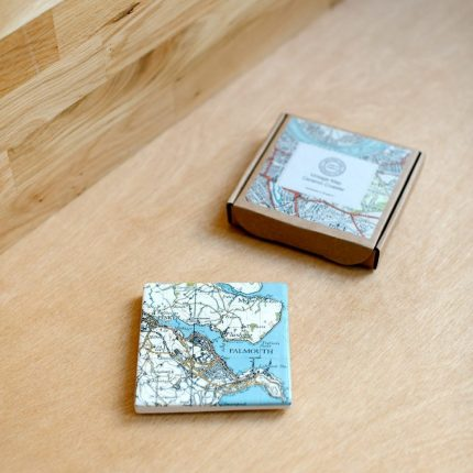 White ceramic coaster printed with vintage map of Falmouth by Glorious Mud Ceramics