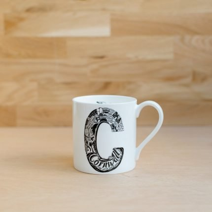 Black and white Cornwall typography mug by Lucy Loves This