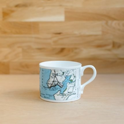 White porcelain mug printed with vintage map of Falmouth by Glorious Mud Ceramics