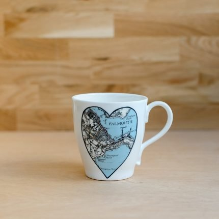 White porcelain mug printed with heart shaped vintage map of Falmouth by Glorious Mud