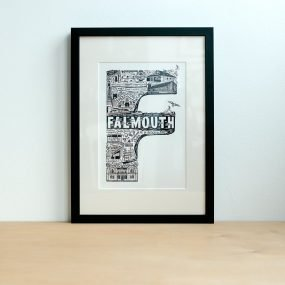 Black and white Falmouth typography print by Lucy Loves This