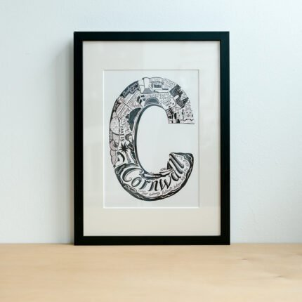 Black and white Cornwall typography print by Lucy Loves This