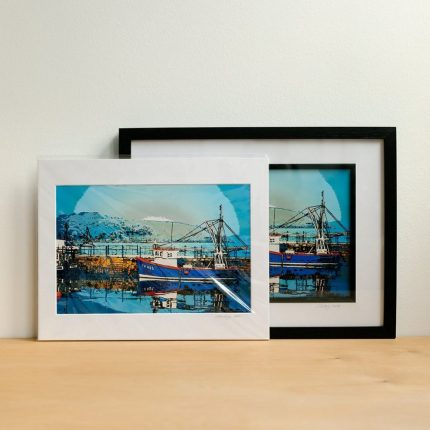 Digital photograph of Falmouth Harbour altered to resemble a painting by Sarah Hertzog