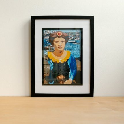 Digital photograph of Falmouth Maiden altered to resemble a painting by Sarah Hertzog
