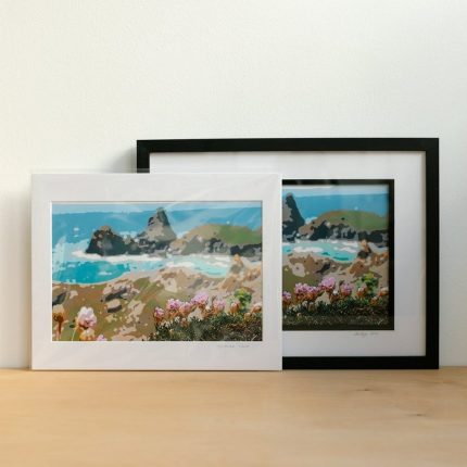 Digital photograph of Kynance Cove altered to resemble a painting by Sarah Hertzog