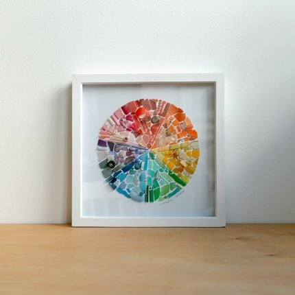 Medium framed colour wheel picture made from beach find plastic by Smartie Lids on the Beach
