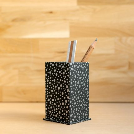Handmade pen pot covered with black and silver dot pattern paper by Books n Boxes