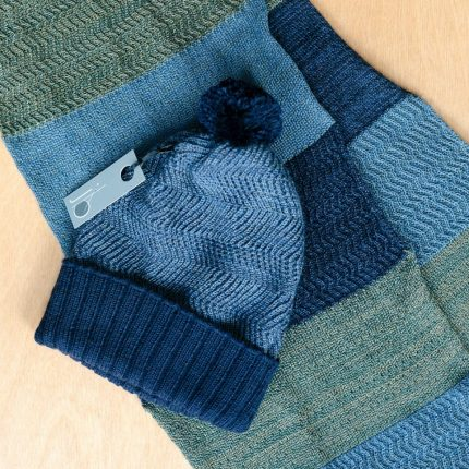 Blue and Green Bobble hat and racked scarf by Jessye Boulton