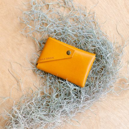 Yellow leather card holder by Wild Origin
