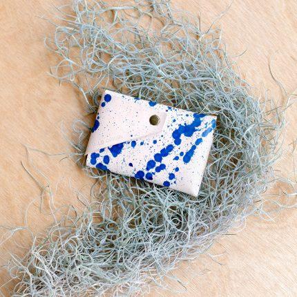 Handpainted blue splat leather card holder by Wild Origin
