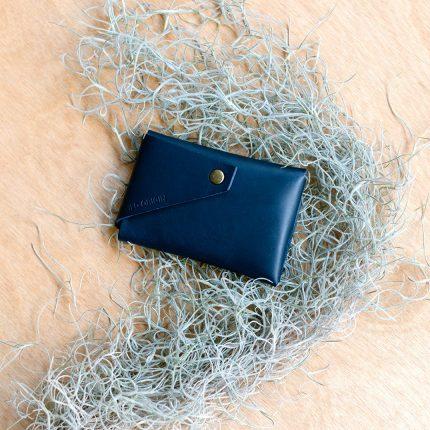 Navy leather card holder by Wild Origin