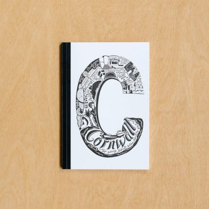 Black and white Cornwall typography notebook by Lucy Loves This