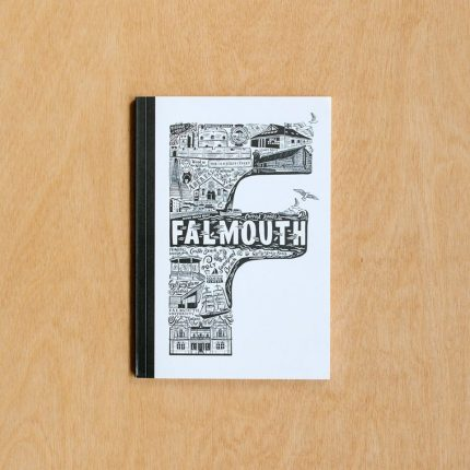 Black and white Falmouth typography notebook by Lucy Loves This