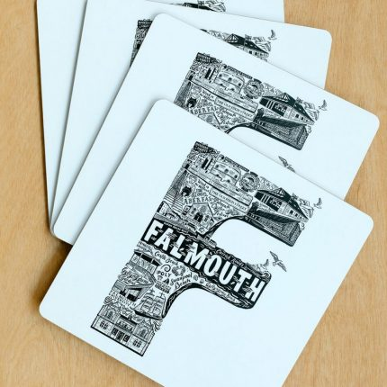 Set of four black and white Falmouth typography placemats by Lucy Loves This