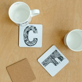Black And White Falmouth And Cornwall Typography Coasters By Lucy Loves This